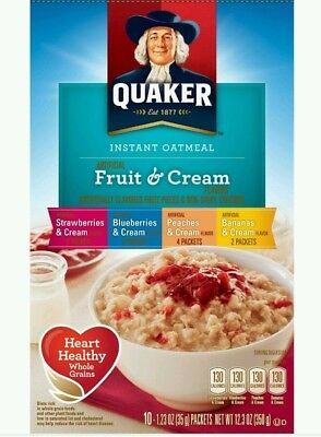Quaker Oatmeal Fruits and Creams Flavor Variety  Instant Hot Cereal