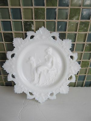 Vtg Cupid & Psyche Milk Glass Plate 7 1/4""