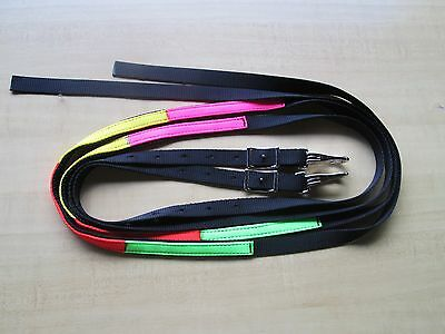 Rainbow Schooling Lesson Nylon Split Reins Aids in Proper Hand Placement USA