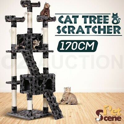 170cm Multi Level Climbing Cat Tree Scratching Post Pole Gym House Furniture Toy