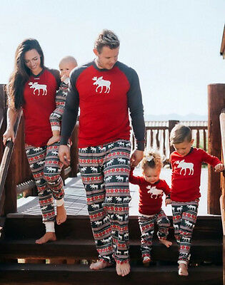 Christmas Family Match Pajamas Set Moose Adult Women Kids Sleepwear Nightwear CA