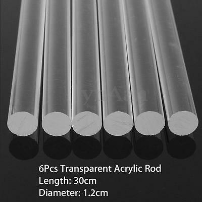 "6pcs Transparent Clear Acrylic Round Rod Solid Bar 12mm Dia. 300mm (12"") Length"