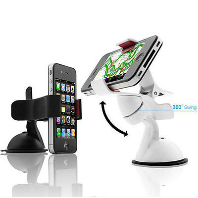 White 360° Car AUTO ACCESSORIES Rotating Phone Windshield Mount GPS Holder WB