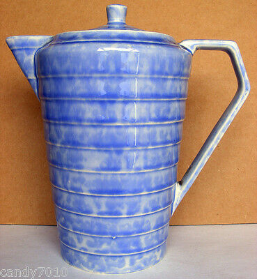 WADENHEATH - Blue Art Deco Coffee Pot - Made in England c1934