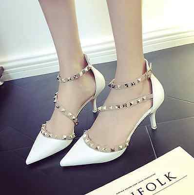 Womens Patent Rivet Ankle Strap Pointed Toe High Heel Hollow Out Stilettos Shoes