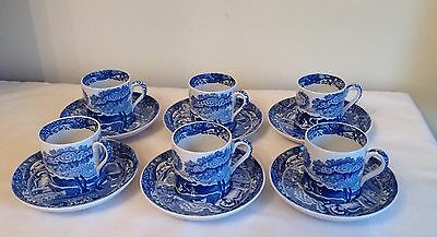 Vintage Spode / Copeland Italian Blue & White Set Of Six Coffee Cans & Saucers