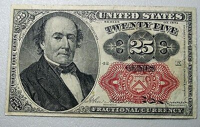 1874 Fractional 25 Cents Currency L@@K --