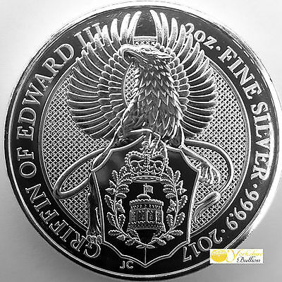 2oz Silver 2017 Queens Beast The Griffin With Capsule