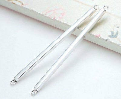925 Sterling Silver 2 Rectangle Stick Links, Connectors 2x40mm.