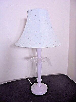 Girls Tabletop Lamp Pink with Polka Dot Lampshade Organza Bow Trim Cottage Charm