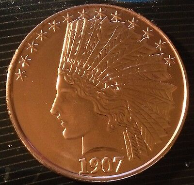 1 Oz Copper Round 1907 Indian $10 Gold Coin Design