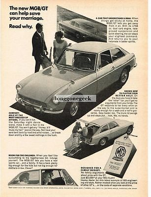 1967 MGB GT Can Help Save Your Marriage Vtg Print Ad