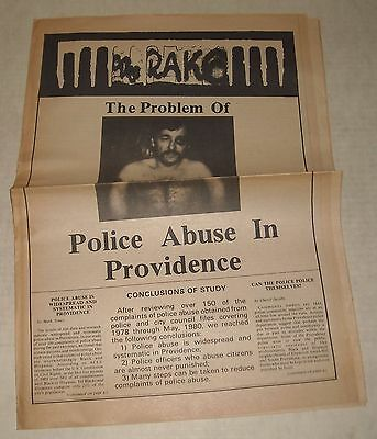 October 1980 THE RAKE RHODE ISLAND RI LOCAL NEWSPAPER POLICE ABUSE in PROVIDENCE