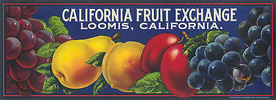 Fruit Crate Label Original Vintage California Fruits 1930S Scarce Loomis Image