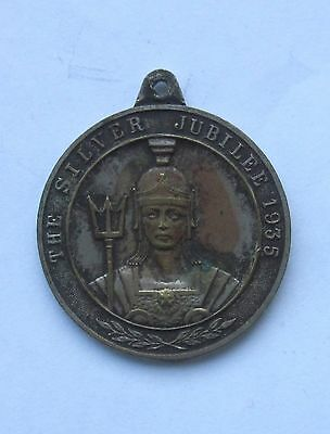1935 KING GEORGE V SILVER JUBILEE 33mm SILVERED BRONZE MEDAL by J FRAY SOUVENIR