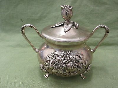 Vintage Swedish 830s Coin Sterling Silver Repousse ROSE Covered Sugar Bowl 357g