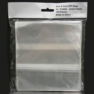 100-pk Generic Clear Resealable OPP Plastic Bags Wrap for 10.4mm CD Jewel Case