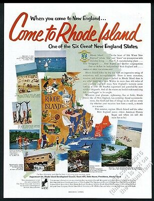 1955 Rhode Island vacation fun map and color photos vintage travel print ad