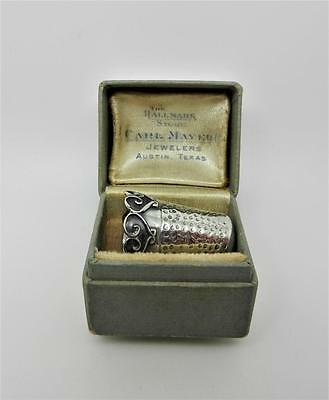 Antique Sterling Silver Thimble Size 11 In Original Box - Very Rare - Lb-C1467