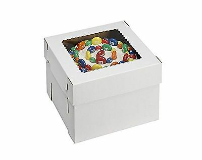 "W PACKAGING WPCKB148 Cake Box with Window E-Flute 14"" x 14"" x 8"" White (P... New"