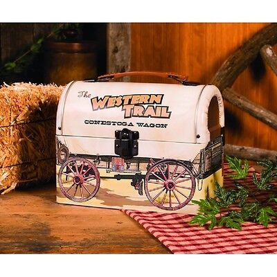 Vintage Look Tin Food Safe Covered Wagon Shaped Metal LUNCHBOX Lunch Box