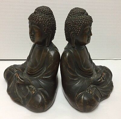 Great Buddha of Kamakura Bookends Brass Vintage Statues 6 inches