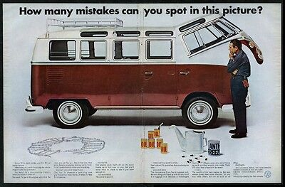 1967 VW Volkswagen bus microbus color photo Spot the Mistakes vintage print ad