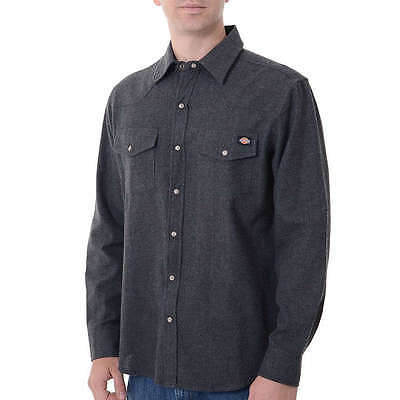 NEW Dickies Men's Brushed Flannel Western Style Shirt Snap Front