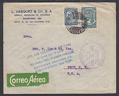 Colombia 1928 'use Colombian Air Mails' Scadta Cover Bogota To Troy Ny Usa