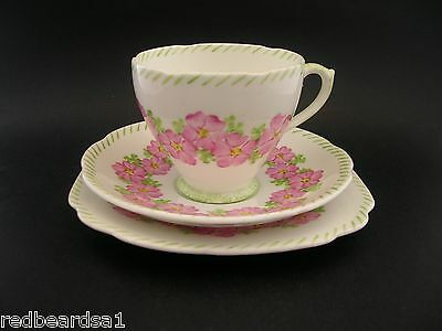 Royal Standard Vintage China Trio Cup Saucer Plate Hand Painted Primula c1940s