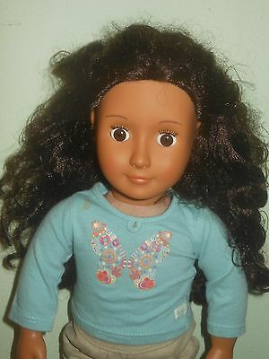 """Our Generation Brunette Curly Hair Brown Eyes in outfit 18"""""""