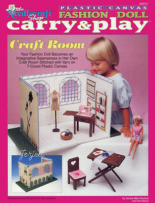 Carry & Play Craft Room plastic canvas patterns fit Barbie fashion dolls