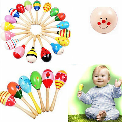 Wooden Maraca Wood Rattles Kid Musical Party Favor Child Baby Shaker Toy Beach