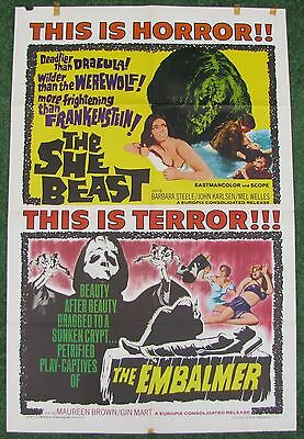 SHE BEAST / EMBALMER Horror Double Feature 1966 1sh ORIGINAL MOVIE POSTER