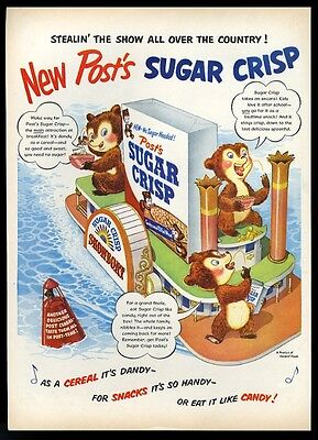 1952 Post Sugar Crisp cereal riverboat bear art vintage print ad