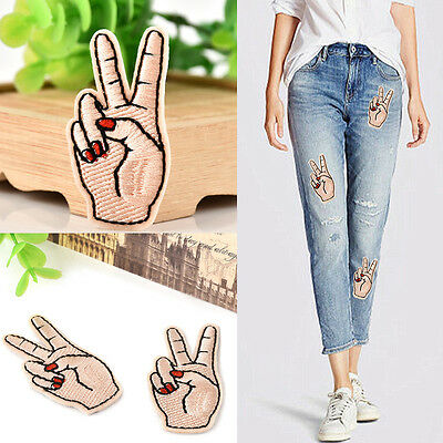 Fashion Peace Hand Iron On Patch Sew On Embroidered Applique Sewing Clothes DIY