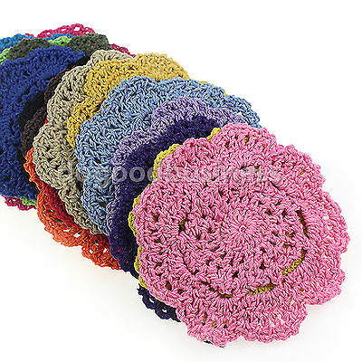 """Set of 4 Round Lotus Floral Hand Crochet Doilies Cup Coasters Mug Rugs Cotton 4"""""""