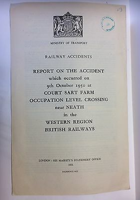 RAILWAY ACCIDENT REPORT 1950 COURT SART FARM LEVEL CROSSING nr NEATH