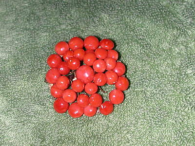 Antique Late Victorian? Salmon Natural Coral Bead Pin Parts/Repair brooch