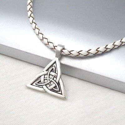 Silver Alloy Celtic Triquetra Knot Symbol Pendant Braided White Leather Necklace