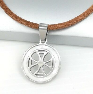 Silver Triquetra Celtic Knot Alloy Pendant Braided Red Leather Necklace