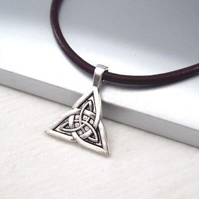 Silver Celtic Knot Triquetra Symbol Alloy Pendant Dark Brown Leather Necklace