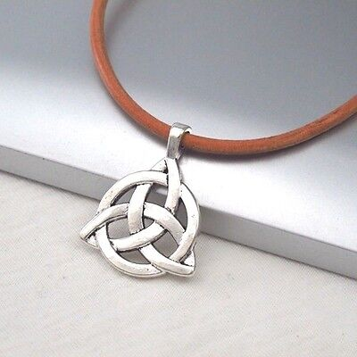 Silver Alloy Celtic Symbol Pendant Light Brown Leather Ethnic Tribal Necklace