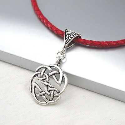 Vintage Silver Round Celtic Knot Alloy Pendant 3mm Braided Red Leather Necklace