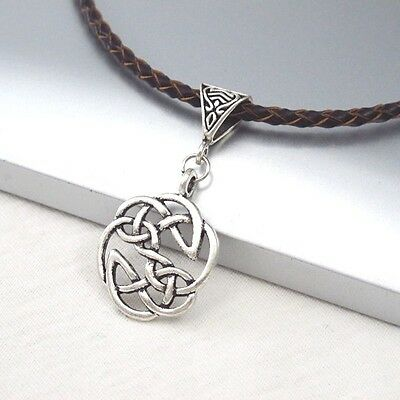Vintage Silver Round Celtic Knot Alloy Pendant Braided Brown Leather Necklace