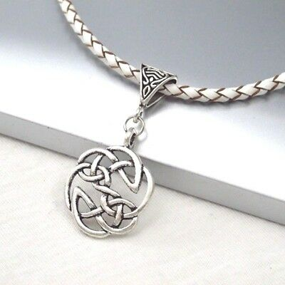 Vintage Silver Round Celtic Knot Alloy Pendant 3mmBraided White Leather Necklace