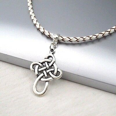 Silver Irish Celtic Knot Cross Alloy Pendant 3mm Braided White Leather Necklace