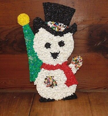 Vintage Snowman Wall Hanging Plastic Melted Popcorn