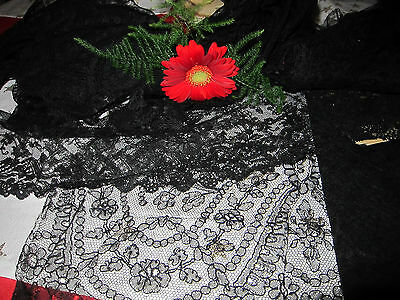 Bundle of Antique French Black Chantilly Lace c.1880's/Unused