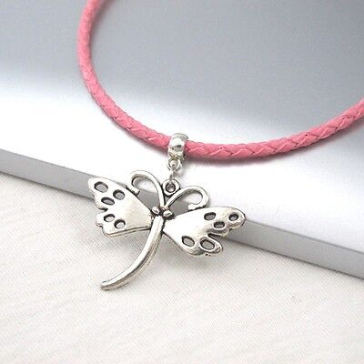 Silver Butterfly Charm Symbol Alloy Pendant 3mm Pink Leather Cord Necklace NEW